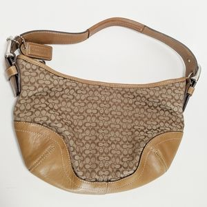 Coach tan and brown purse with c pattern